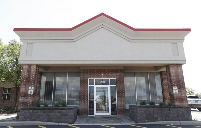 Work is underway on HSBC's new branch in Depew. (Sharon Cantillon/Buffalo News)