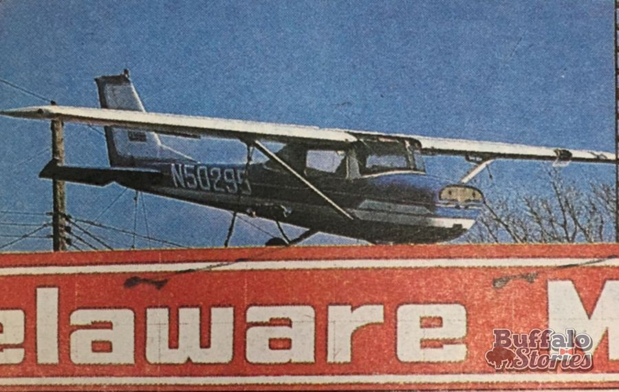 Cessna on top of a Delaware Ave. car dealership, 1986.