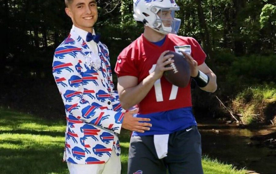 Greece Arcadia senior Jonny Wood wears his Bills prom tuxedo and salutes his favorite player, Josh Allen Photo curtesy of Jonny Wood)