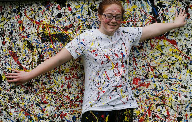 """Jackson Pollock's """"Convergence"""" is brought to life during Art Alive at the Albright-Knox Art Gallery grounds. (Derek Gee/Buffalo News)"""