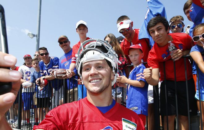 Josh Allen takes a selfie with fans after training camp. (Harry Scull Jr./News file photo)