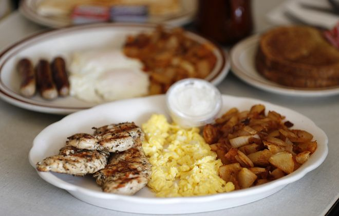Souvlaki breakfast and eggs, sausage, home fries with toast at Teddy's Family Restaurant.        (Mark Mulville/Buffalo News)