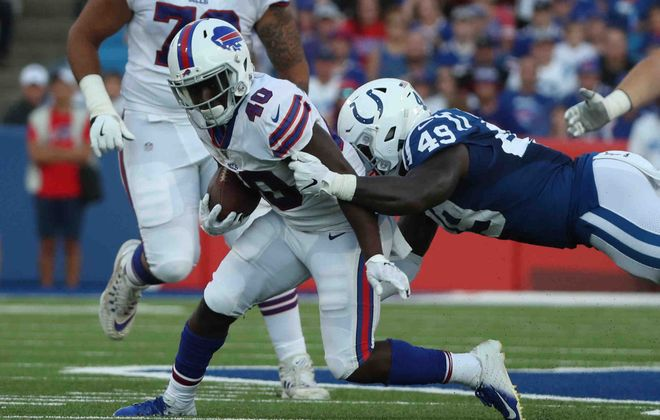 Devin Singletary's emergence factored into the Buffalo Bills' decision to release running back LeSean McCoy on Saturday. (James P. McCoy/Buffalo News)