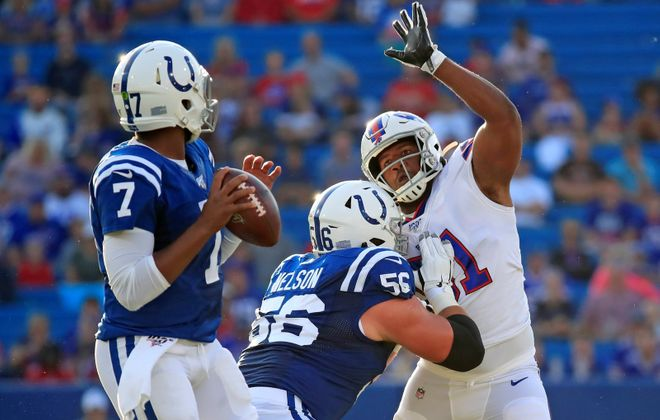 Bills defensive lineman Ed Oliver pressures Indianapolis  quarterback Jacoby Brissett (Harry Scull Jr./Buffalo News)