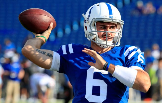 Indianapolis Colts quarterback Chad Kelly throws in pregame prior to playing the Buffalo Bills at New Era Field. (Harry Scull Jr./News file photo)