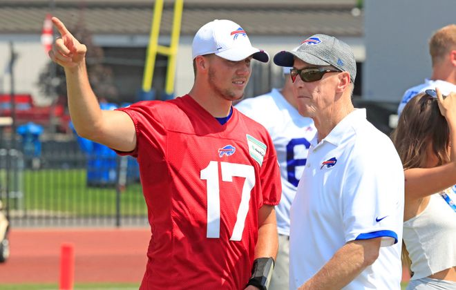 Hall of Fame quarterback Jim Kelly has been a mentor for current Bills starter Josh Allen. (Harry Scull Jr./News file photo)