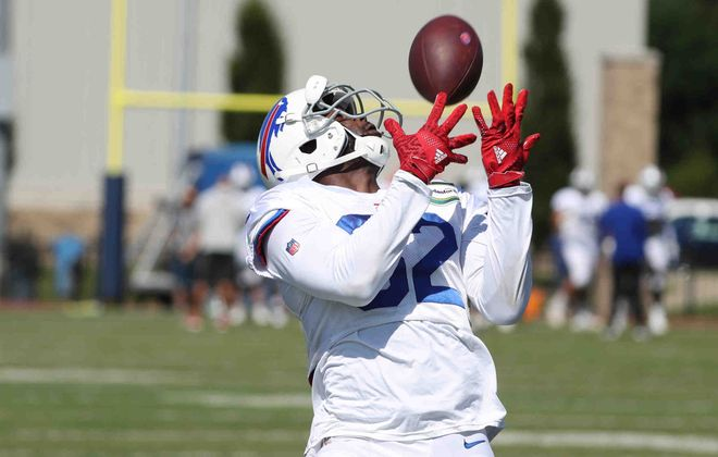 Bills receiver Duke Williams is on the team's practice squad, but fans are wondering whether he should get a shot on the active roster. (James P. McCoy/News file photo)