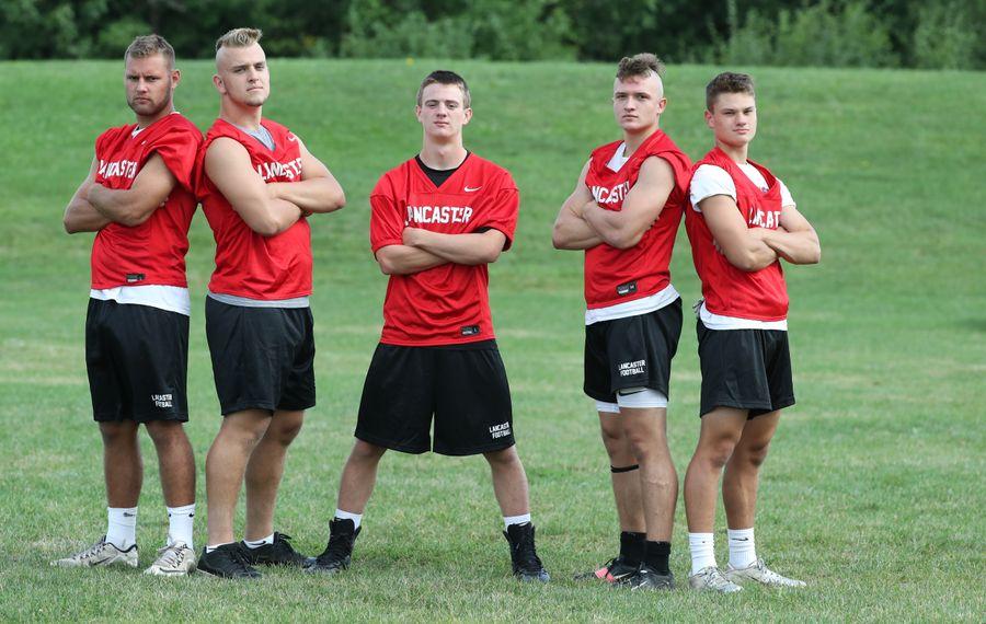 Lancaster's linebackers Matt Marschner,Conor Mahony, Jason Mansell,Ethan Jurkowski and Shawn Davis (James P. McCoy/Buffalo News)