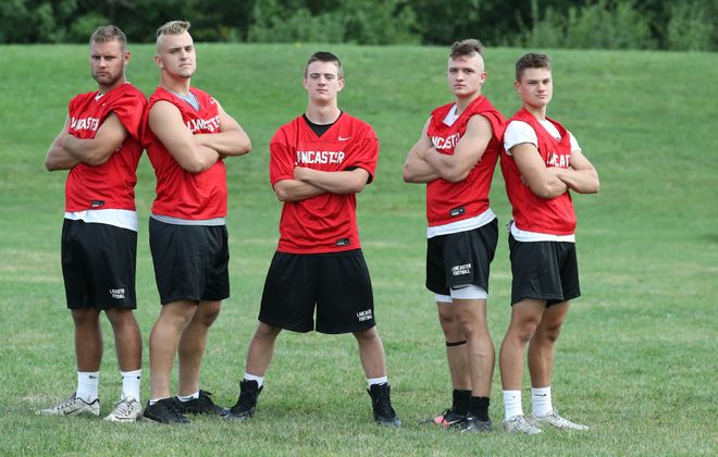 Lancaster's linebackers Matt Marschner,Conor Mahony, Jason Mansell,Ethan Jurkowski and Shawn Davis (James P. McCoy/Buffalo News)