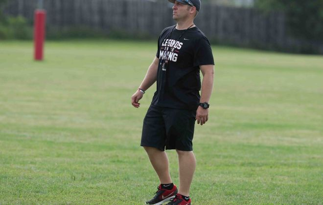 Lancaster's head coach Eric Rupp directs practice in Lancaster on Aug. 19, 2019. (James P. McCoy/News file photo)