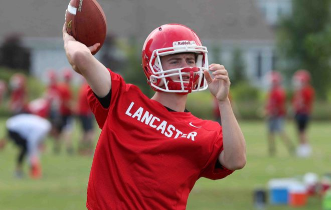 Lancaster's quarterback Jason Mansell, throws a pass in practice (James P. McCoy/Buffalo News file photo)