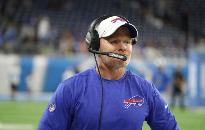 Buffalo Bills head coach Sean McDermott calls in a play n the first quarter at Ford Field in Detroit, Michigan on Friday, Aug. 23, 2019.  (James P. McCoy/Buffalo News)