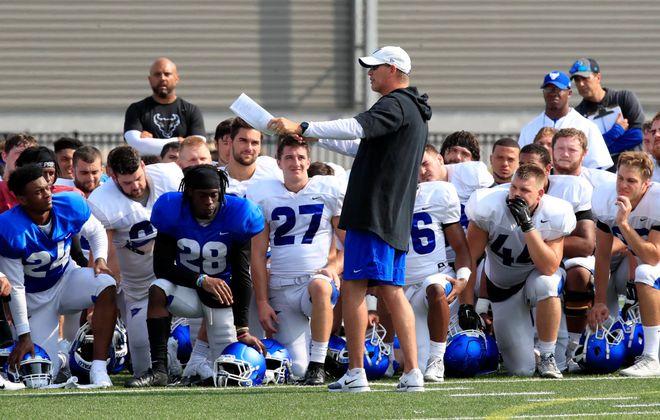 University at Buffalo coach Lance Leipold talks to his team during practice at UB Stadium on Friday, Aug. 16, 2019. (Harry Scull Jr./Buffalo News)