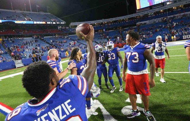 Through several team-building exercises, the Bills have formed an especially close team chemistry. (James P. McCoy/News file photo)