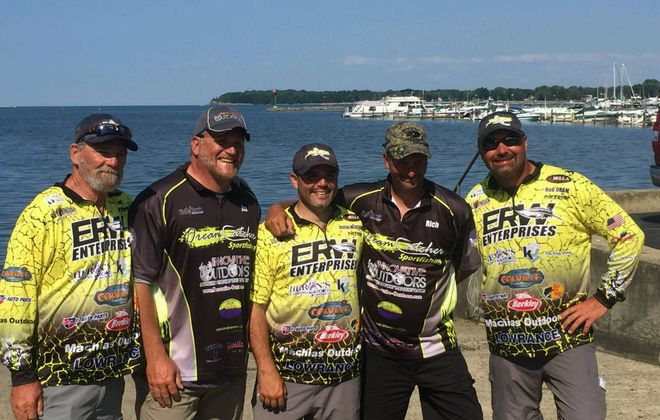The 2019 Northern Chautauqua Conservation Club (Con Club) Walleye Tournament is in the books and here are some of the winners for this year's event. From the left are Tom Uhl from Florida (EyeCon), Jim Steel (Dream Catcher), Justin Wekenmann (EyeCon), Rich Fliss (Dream Catcher) and Rob Oram (EyeCon). (Photo by Diane Steel)