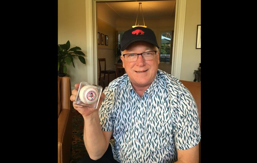 "Bud Offermann with his ""family crest."" (Erik Brady/Buffalo News)"