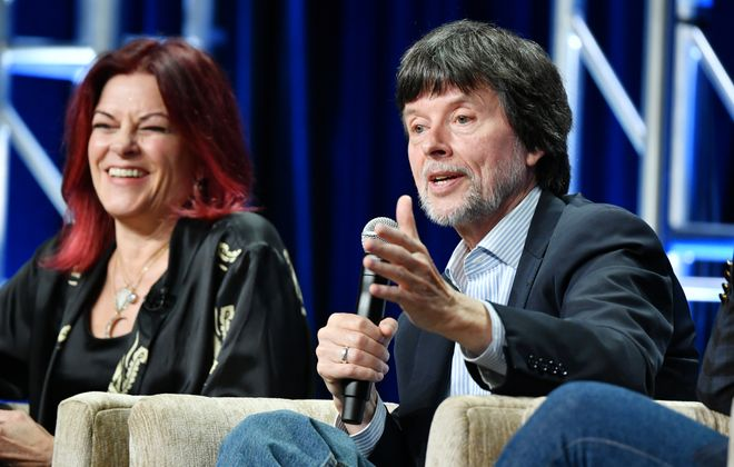"""Singer-songwriter Rosanne Cash and documentary filmmaker Ken Burns speak about Burns' """"Country Music"""" documentary during the summer 2019 Television Critics Association press tour in July in Beverly Hill, Calif. (Photo by Amy Sussman/Getty Images)"""