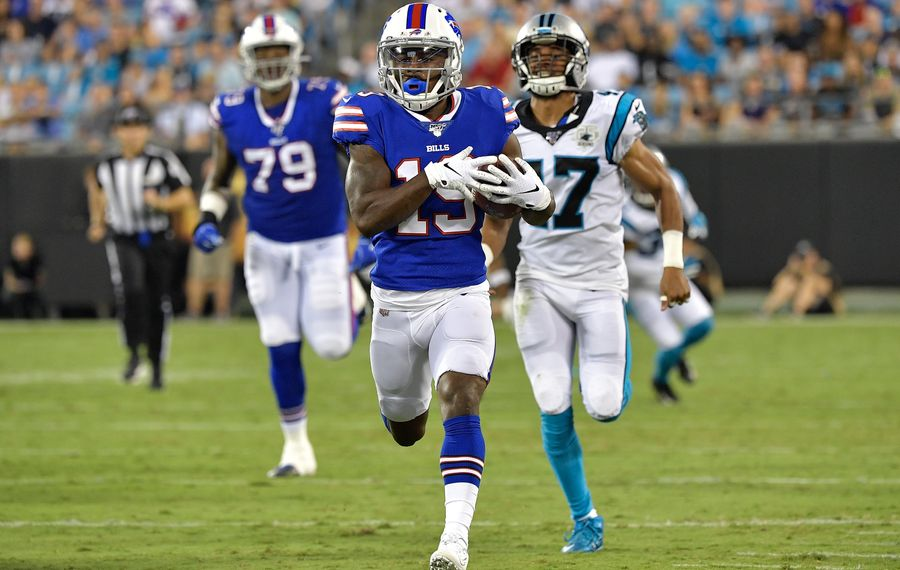 Isaiah McKenzie #19 of the Buffalo Bills breaks away from Ross Cockrell #47 of the Carolina Panthers during the second quarter of their preseason game at Bank of America Stadium Friday. (Photo by Grant Halverson/Getty Images)