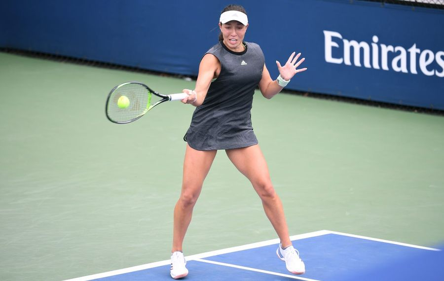 Jessie Pegula returns a shot against Alize Cornet during their match at the U.S. Open. (Getty Images)