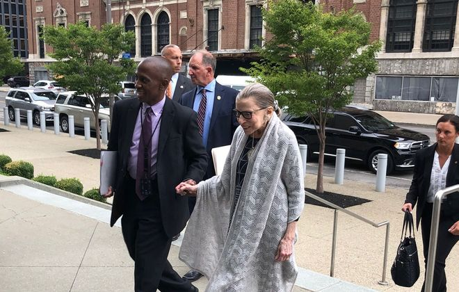 U.S. Supreme Court Justice Ruth Bader Ginsburg enters the Robert H. Jackson Courthouse on Tuesday, Aug. 27, 2019. (Phil Fairbanks/Buffalo News)
