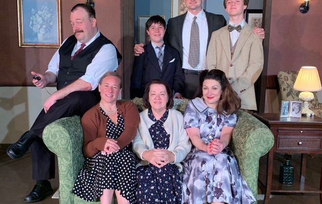 "Kelly Cammarata, Ellen Horst, Diane DiBernardo, (behind) Elliot Fox, Timothy Whipple, Kevin Nagel, Ayden Herreid star in ""Lost in Yonkers"" at Desiderio's Dinner Theatre. (Contributed photo)"