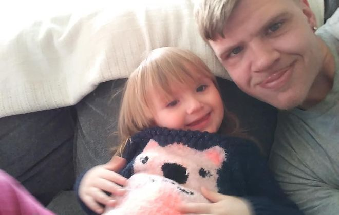 Joseph E. Bialaszewski in a family photo with his 2-year-old daughter, Charlee Rae. (Courtesy of Gail Bialaszewski)
