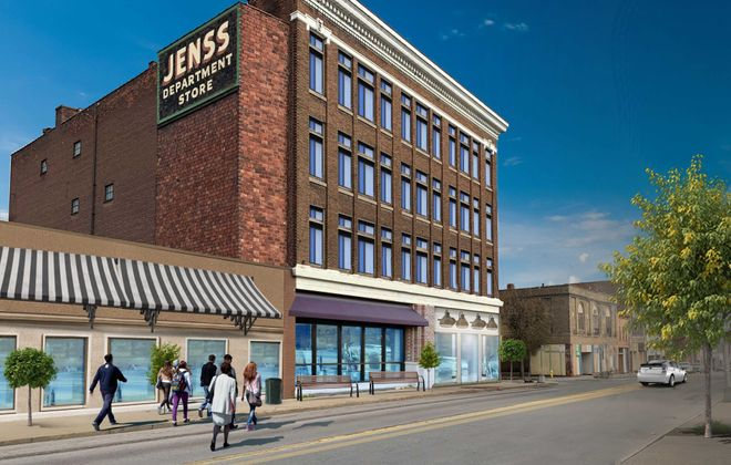 A rendering of Blue Cardinal's planned restoration of the old Jenss store on Main Street in Niagara Falls, part of the area covered by a $10 million Downtown Revitalization Initiative.(Courtesy City of Niagara Falls)