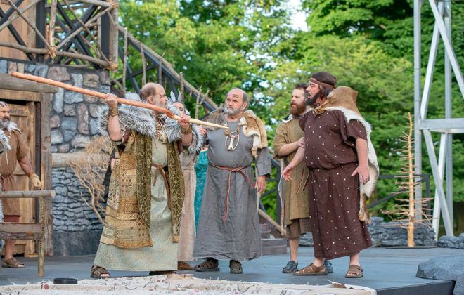"""The sets for Shakespeare in Delaware Park, like this one for 2018's """"King Lear,"""" needs to weather both the elements and parkgoers. (Matt Weinberg)"""