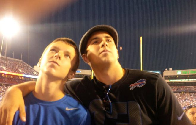 Connor Lynskey and his older brother, Michael Jr., at a Buffalo Bills game, early 2010s. (Family image)