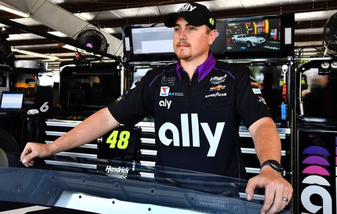 "Thomas Heslink,, a native of Clymer, serves as an ""underneath mechanic"" for the Hendrick Motorsports No. 48 Ally Chevrolet driven by Jimmie Johnson. (Hendrick Motorsports)"