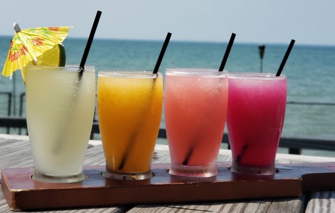 Drink flights are now getting more creative and colorful. (Photo courtesy of Benjamin Walle at DOS. On The Lake)
