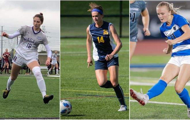 Another season of college soccer is upon us for the Big 4 women's teams. From left: Niagara's Annie Ibey, Canisius' Madeline Beaulieu and UB's Marcy Barberic. (via respective schools except for Ibey)