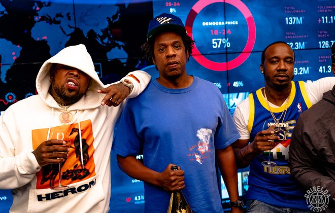 Griselda Records has formed an official partnership with Jay-Z's Roc Nation. From left: Westside Gunn, Jay-Z and Benny the Butcher, at Roc Nation studios Aug. 6. (Photo courtesy @TefWesley)
