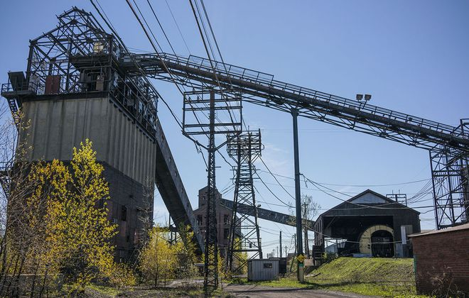 Portions of the old coal management system at the former Bethelehem Steel site in Lackawanna in 2017. At right, rail cars full of coal are emptied.  (Derek Gee/News file photo)