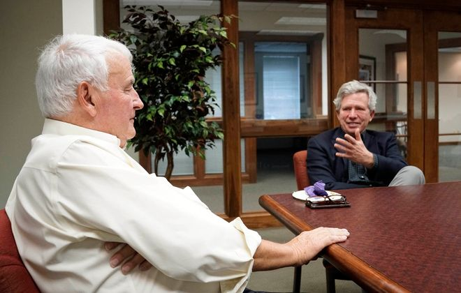 Tom Golisano, left, and Larry Quinn talk about their time running the Sabres during an interview with The Buffalo News in September. (Derek Gee/News file photo)