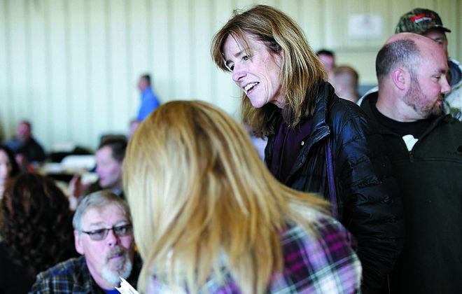 "Lynne Dixon campaigns for Erie County executive while running on the Independence Party line, which critics say confuses voters who think it means she's running as an ""independent."" (Derek Gee/News file photo)"