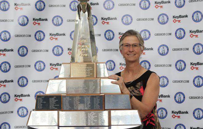 Greater Buffalo Sports Hall of Fame inductee Barbara Wachowiak at KeyBank Center on Tuesday, June 4, 2019. (Harry Scull Jr./Buffalo News)