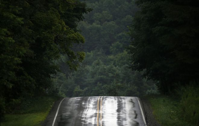 Farrington Hollow Road after a passing rain shower in Cherry Creek on Thursday, Aug. 8, 2019. (Mark Mulville/Buffalo News)