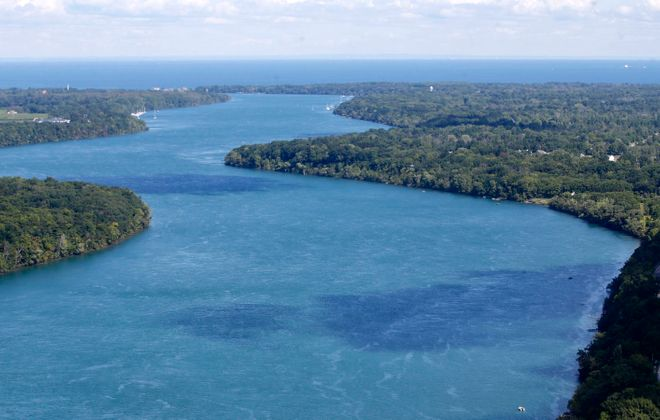 The lower Niagara River winds north toward Lake Ontario. (Derek Gee/News file photo)