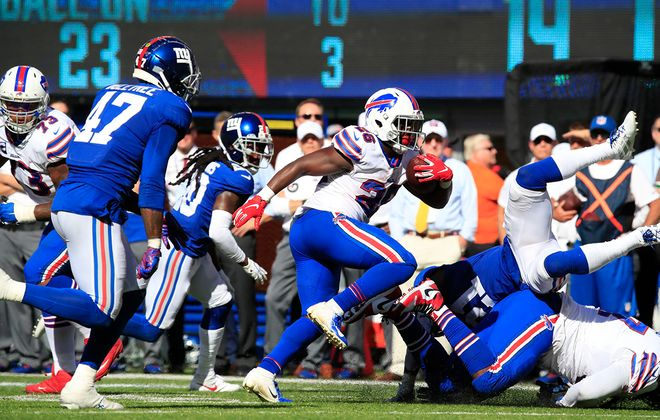 Bills running back Devin Singletary runs against the Giants during the fourth quarter at MetLife Stadium on Sunday, Sept. 15, 2019. (Harry Scull Jr./Buffalo News)