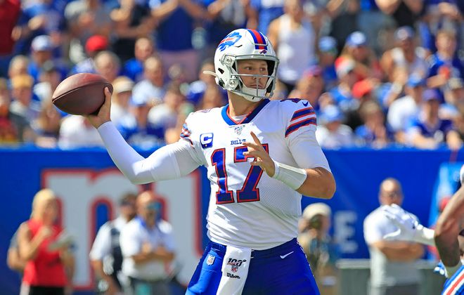 Bills quarterback Josh Allen throws against the Giants during the first quarter at MetLife Stadium on Sunday, Sept. 15, 2019. (Harry Scull Jr./Buffalo News)