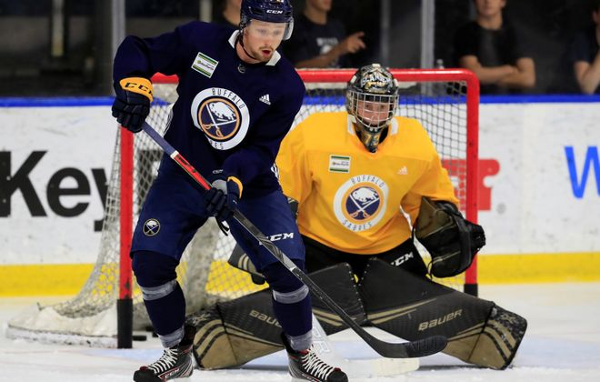 Buffalo Sabres prospect Rasmus Asplund during practice at Harborcenter on Thursday, Sept. 5, 2019. (Harry Scull Jr./Buffalo News)