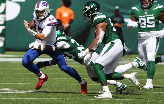 The Bills will want to limit the amount of hits quarterback Josh Allen takes Sunday against the Jets. (James P. McCoy/Buffalo News)