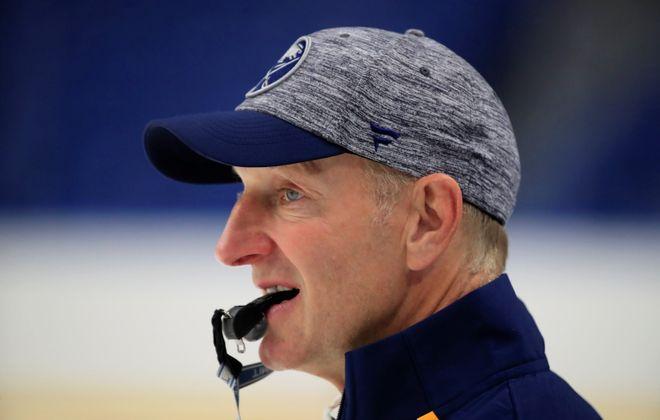 Buffalo Sabres coach Ralph Krueger during training camp at KeyBank Center on Friday, Sept. 13, 2019. (Harry Scull Jr./Buffalo News)
