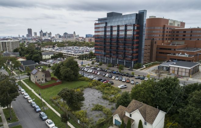 A developer plans to build a five-story apartment building in the Fruit Belt, directly across Michigan Avenue from the Buffalo Niagara Medical Campus. (Derek Gee/Buffalo News)