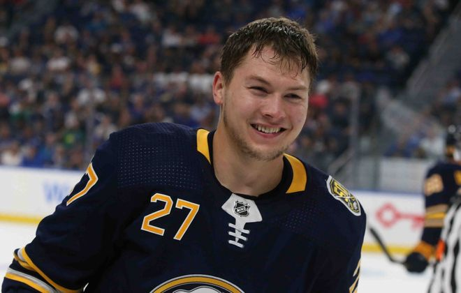 Curtis Lazar gets the call for the Sabres (James P. McCoy/Buffalo News).