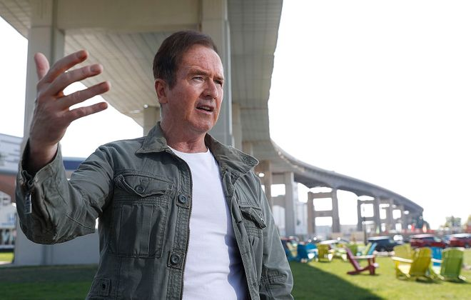 Congressman Brian Higgins has been trying to get the Skyway taken down for about two decades. Photo taken at Canalside where he considers the Skyway to be an impediment to development there, Saturday, Sept. 21, 2019. (Sharon Cantillon/Buffalo News)