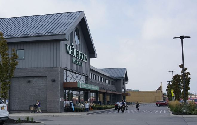 The scene earlier this month outside Whole Foods Market in Northtown Plaza on Sheridan Drive. (Derek Gee/Buffalo News)