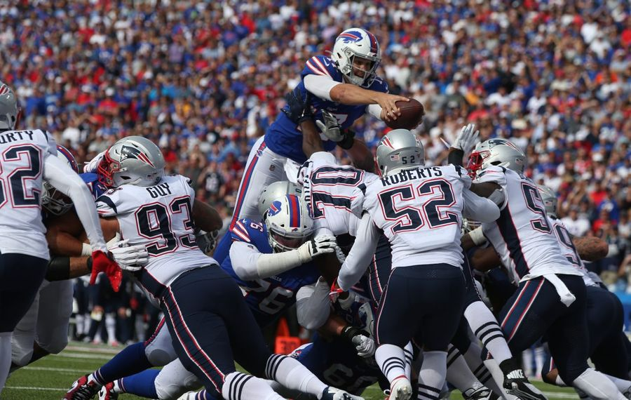 Buffalo Bills quarterback Josh Allen (17) rushes for a touchdown in the third quarter at New Era Field in Orchard Park, NY on Sunday, Sept. 29, 2019.  James P. McCoy/Buffalo News