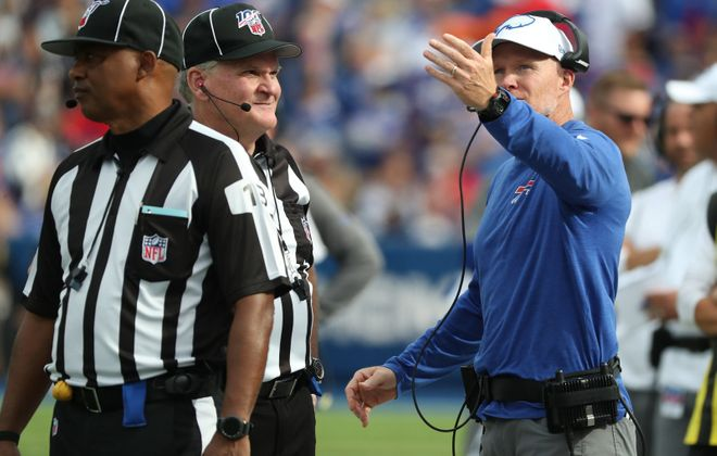 Buffalo Bills head coach Sean McDermott questions a call. (James P. McCoy/Buffalo News)